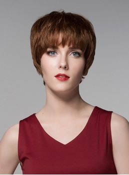 Mishair® Cute Short Straight Full Bangs Capless Human Hair Wig 6 Inches
