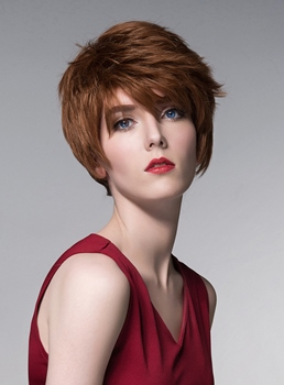 Mishair® Layered Short Straight Human Hair Capless Wig 6 Inches