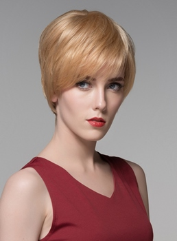Mishair® Cute Short Straight Capless Human Hair Wig 6 Inches