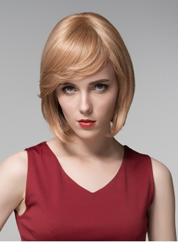 Mishair® Bob Medium Straight Capless Human Hair Wig 12 Inches