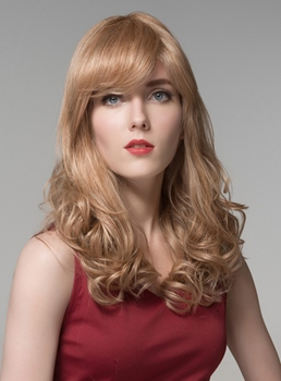 Mishair® Charming High Quality Long Wavy Human Hair Wigs 24 Inches