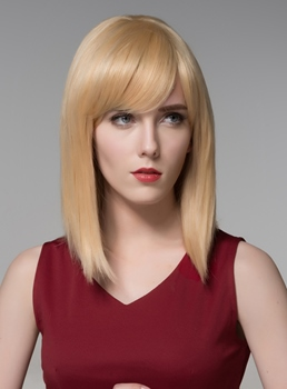 Mishair® Medium Silk Straight Beautiful Human Hair Capless Wig 14 Inches