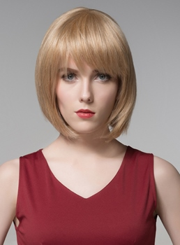 Mishair® Medium BOB Beautiful Human Hair Capless Wig 12 Inches