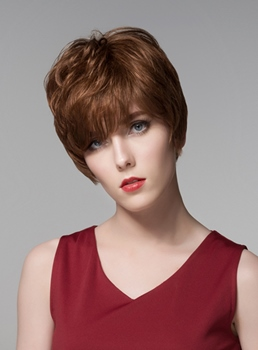 Mishair® Graceful Layered Short Straight Human Hair Capless Wig 6 Inches
