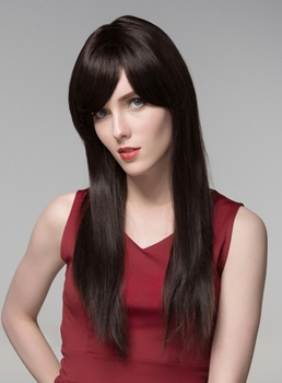 Mishair® Super Long Straight Natural Black Human Hair Wigs 24 Inches