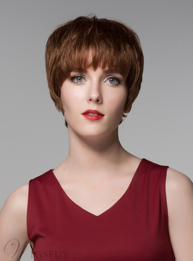 Mishair? Cute Short Straight Full Bangs Capless Human Hair Wig 6 Inches 11775787