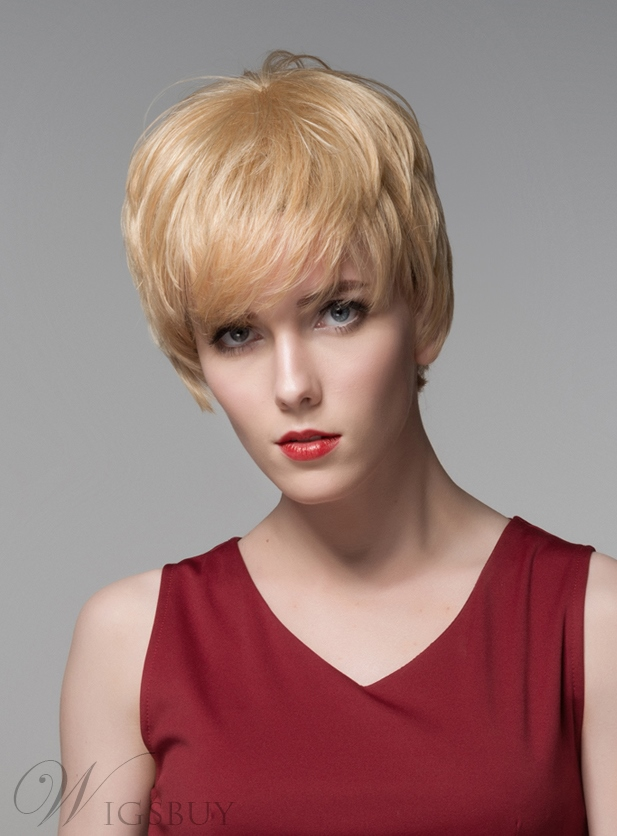 Mishair® New Arrival Short Straight Full Bangs Capless Human Hair Wig 6 Inches 11775790