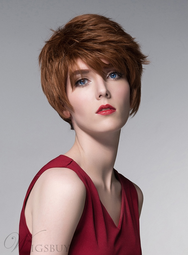 Mishair? Layered Short Straight Human Hair Capless Wig 6 Inches 11680784