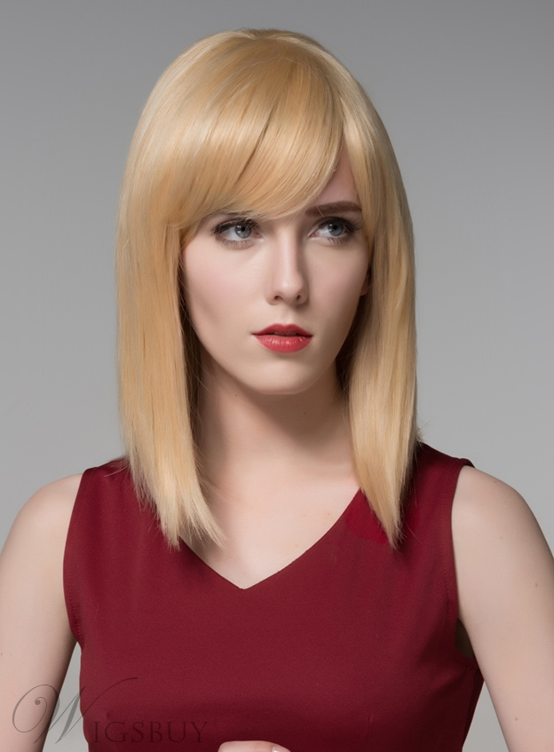 Mishair? Medium Silk Straight Beautiful Human Hair Capless Wig 14 Inches 11773899