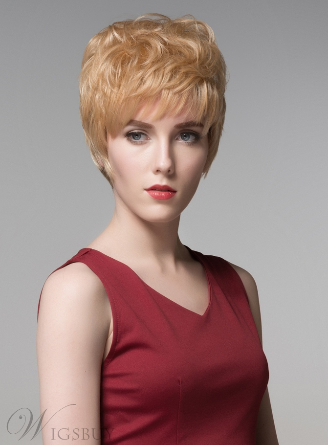 Mishair? Beautiful Natural Wavy Short Human Hair Capless Wigs 6 Inches 11846825