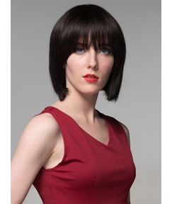 Mishair® Mid-length Black Beautiful BOB Human Hair Capless Wig 12 Inches