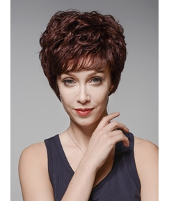Mishair® Top Quality Short Wavy Capless Human Hair Wig 6 Inches