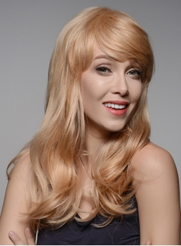 Mishair® Charming Long Wavy Human Hair Wigs 22 Inches