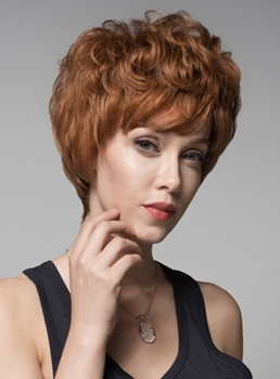 Mishair® Layered Short Wavy Capless Human Hair Wig 6 Inches
