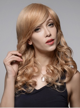 Mishair® Wavy Long Beautiful Human Hair Capless Wigs 22 Inches