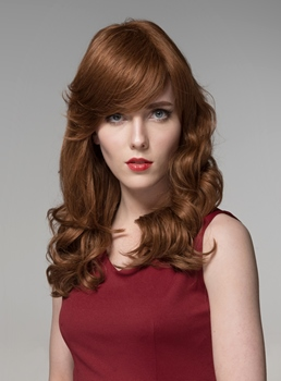 Mishair® Attractive Long Curly Capless Human Hair Wig 22 Inches