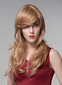 Mishair® Glamorous Long Layered Capless Human Hair Wig 24 Inches