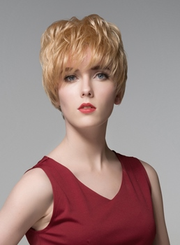 Mishair® Layered Short Charming Wavy Human Hair Capless Wig 6 Inches