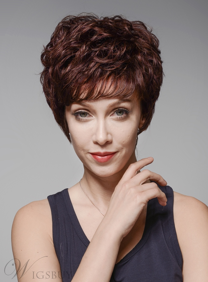Mishair® Top Quality Short Wavy Capless Human Hair Wig 6 Inches 11926753