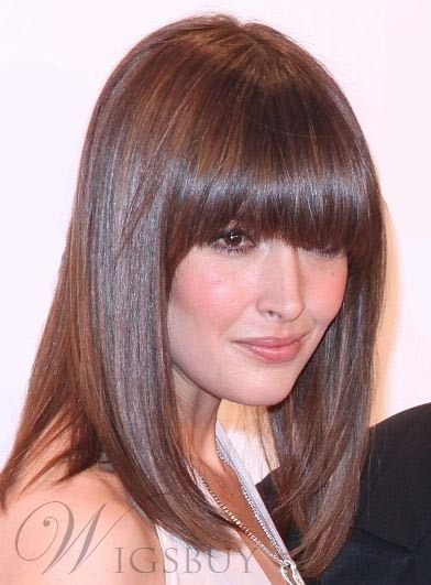 Medium Straight Full Bang Capless Synthetic Hair Wigs 14 Inches 11938437