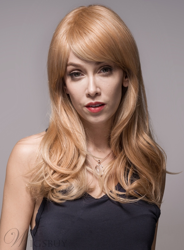 Mishair? Wavy Long Human Hair Capless Wigs 24 Inches 11949253