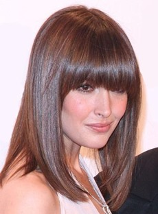 Elegant Medium Straight Full Bangs Capless Synthetic Hair Wig 14 Inches