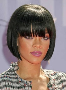 Rihanna Short Straight Capless Synthetic Hair Wigs 10 Inches