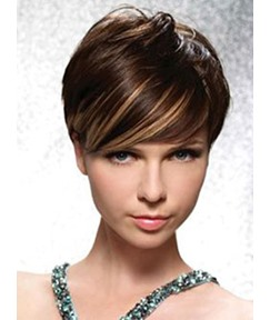 Cool Fashionable Short Straight Mono Top Human Hair Wig 8 Inches