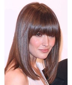 Medium Straight Full Bang Capless Synthetic Hair Wigs 14 Inches