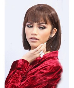 Zendaya Lob Hairstyle Medium Straight Capless Synthetic Hair Wig 12 Inches