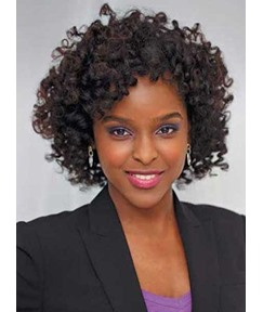 Black Women Medium Kinky Curly Capless Synthetic Hair Wigs 12 Inches