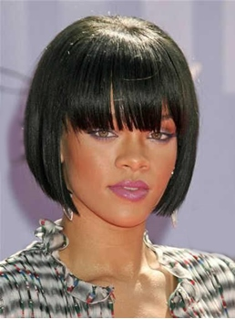 Rihanna Cute Short Straight Capless Synthetic Hair Wig 10 Inches