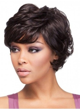 Short Layered Capless Human Hair Wigs for Black Women