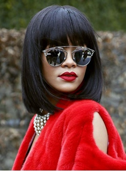 Rihanna Medium Straight Capless Synthetic Hair Wig 12 Inches
