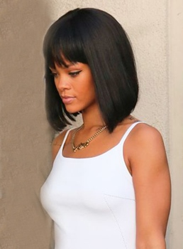 Rihanna Lob Hairstyle Medium Straight Capless Human Hair Wig 12 Inches