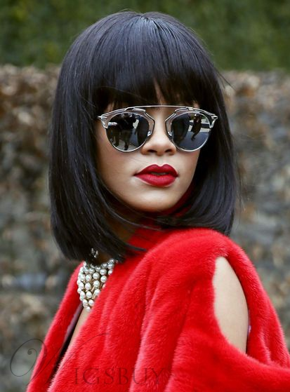 Rihanna Medium Straight Capless Synthetic Hair Wigs With Bang 12 Inches