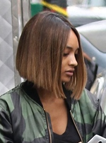 Jourdan Dunn Meidum Straight Bob Hairstyle Lace Front Human Hair Wig 12 Inches