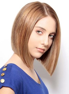 Elegant Medium Striaght Lob Mono Top Human Hair Wig 12 Inches