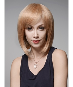 Mishair® Elegant Medium Straight Capless Human Hair Wig 12 Inches