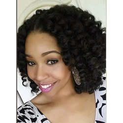 Afro American Medium Curly Lace Front Human Hair Wigs 16 Inches
