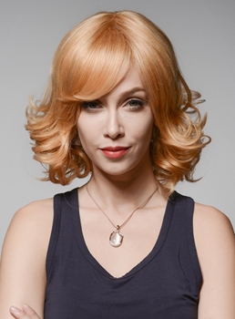 Mishair® Charming Bob Medium Curly Human Hair Wigs 12 Inches