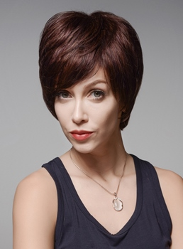 Mishair® Mature Short Straight Capless Human Hair Wig 6 Inches