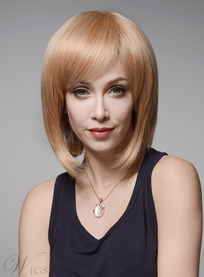 Mishair? Elegant Medium Straight Capless Human Hair Wig 12 Inches 11986663