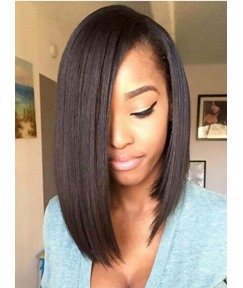 Hot Sale Medium Straight Lace Front Human Hair Wig 14 Inches