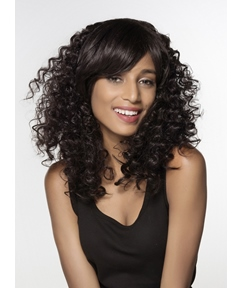 Mishair® Long Kinky Curly Capless Human Hair Wig 18 Inches
