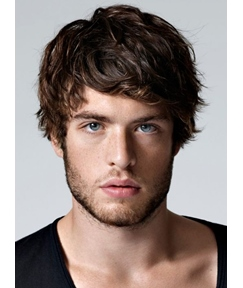 Cozy Wavy Short Layered Synthetic Hair Men Capless Wigs 6 Inches