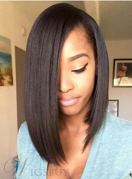 Medium Straight Lace Front Human Hair Wigs 14 Inches