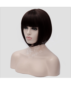 Bob Hairstyle With Bangs Synthetic Hair Women Wig Clearance Sale