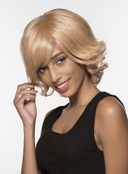 Mishair® Elegant Medium Bottom Wave Capless Human Hair Wig 12 Inches