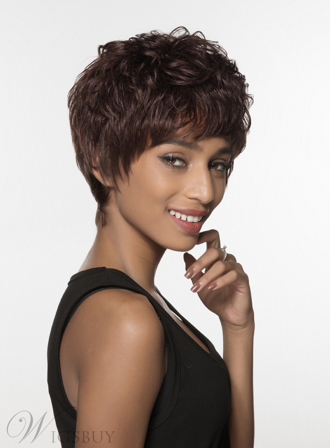 Mishair® Attractive Layered Short Straight Capless Human Hair Wig 6 Inches 12004200
